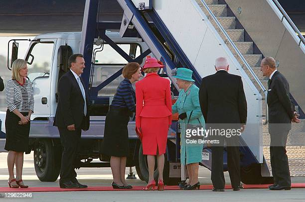 Queen Elizabeth II and Prince Philip Duke of Edinburgh meet the Prime Minister Julia Gillard on October 19 2011 in Canberra Australia The Queen and...