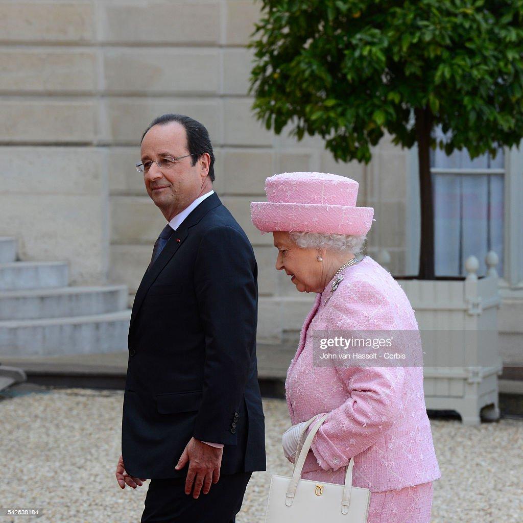 Queen Elizabeth meets President Hollande : News Photo