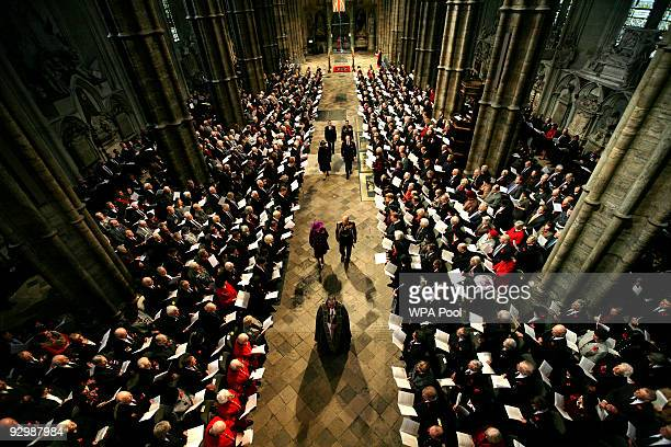Queen Elizabeth II and Prince Philip, Duke of Edinburgh of the memorial service to mark the passing of the World War I generation at Westminster...