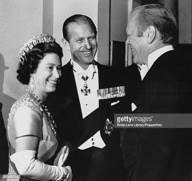 Queen Elizabeth II and Prince Philip Duke of Edinburgh on a State Visit to the US welcome President of the United States Gerald Ford on his arrival...