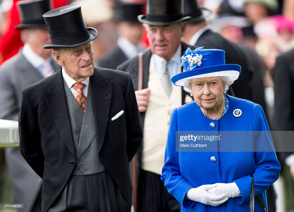 Queen Elizabeth II and Prince Philip, Duke of Edinburgh on day 2 of Royal Ascot at Ascot Racecourse on June 17, 2015 in Ascot, England.
