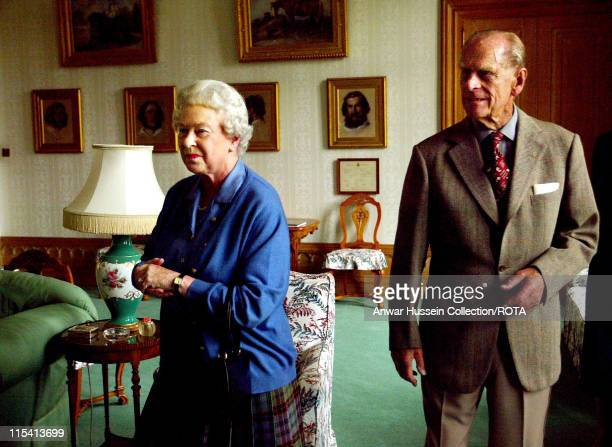 Queen Elizabeth II and Prince Philip Duke of Edinburgh on holiday at Balmoral Castle in Scotland on August 16 2005