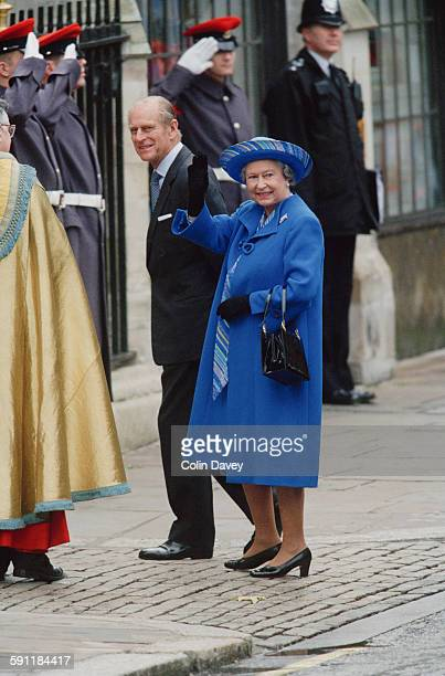 Queen Elizabeth II and Prince Philip Duke of Edinburgh on the day of their 50th wedding anniversary in Westminster London UK 20th November 1997