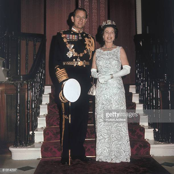 Queen Elizabeth II and Prince Philip Duke of Edinburgh on the occasion of their 25th silver wedding anniversary celebrations held at Buckingham...