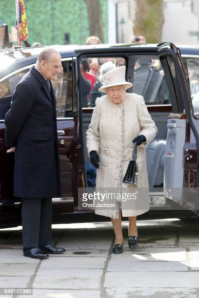 Queen Elizabeth II and Prince Philip Duke of Edinburgh open a new development at The Charterhouse at Charterhouse Square on February 28 2017 in...