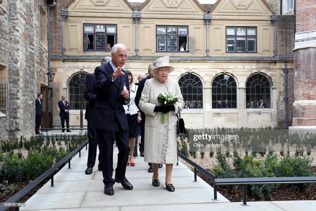 Queen Elizabeth II and Prince Philip, Duke of Edinburgh open a new development at The Charterhouse at Charterhouse Square on February 28, 2017 in London, England.