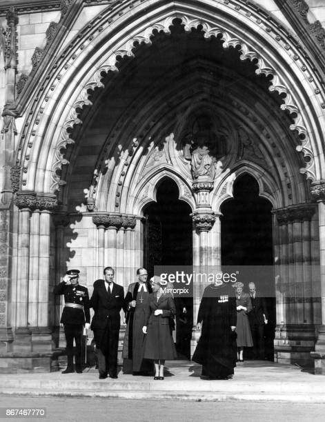 Queen Elizabeth II and Prince Philip, Duke of Edinburgh outside Hereford Cathedral, 24th April 1957.