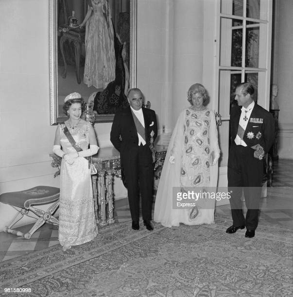 Queen Elizabeth II and Prince Philip Duke of Edinburgh pictured with President of France Georges Pompidou and his wife Claude Pompidou at the British...
