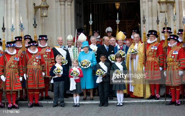 Queen Elizabeth II and Prince Philip Duke of Edinburgh pose as they depart the Maundy Service at Westminster Abbey on April 21 2011 in London England...