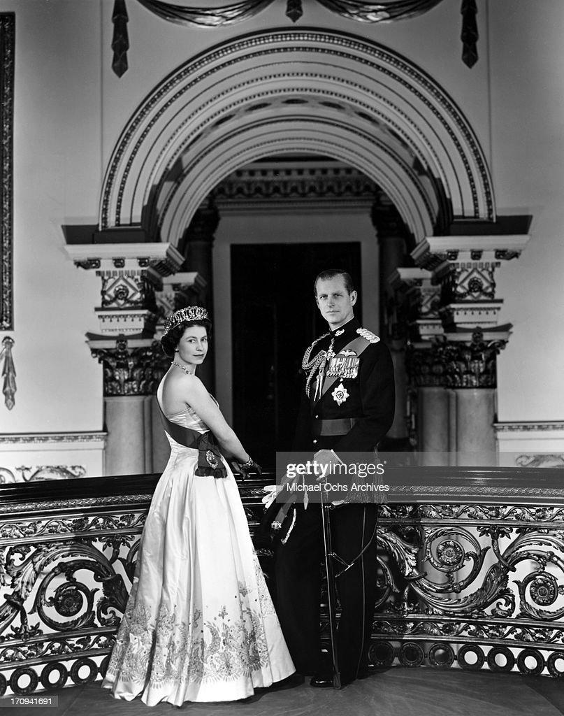 Queen Elizabeth II And Prince Philip Portrait : Foto jornalística