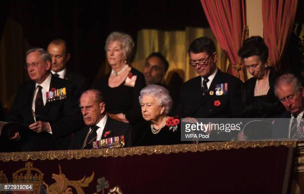 Queen Elizabeth II and Prince Philip Duke of Edinburgh Princess Anne Princess Royal Sir Tim Laurence and the Prince Charles Prince of Wales attend...