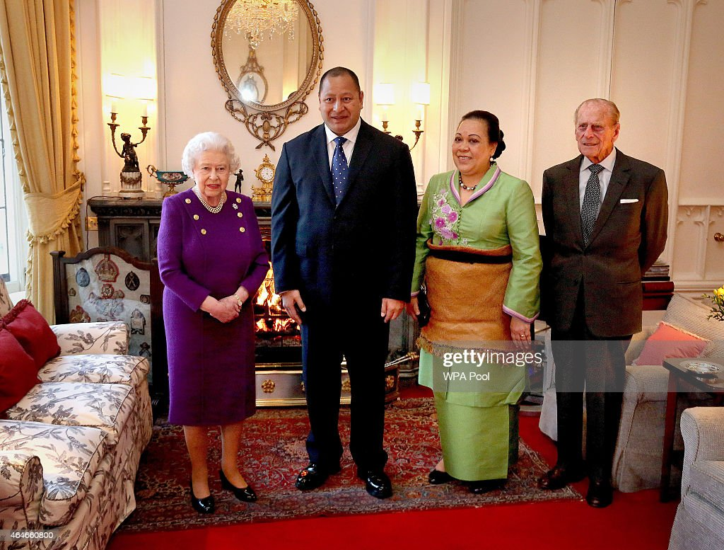 Queen And Duke of Edinburgh Receive The King and Queen of Tonga : News Photo