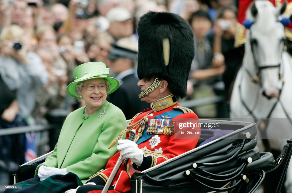 Queen Elizabeth II & Prince Philip Trooping the Colour : News Photo