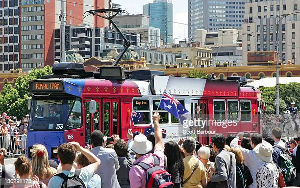 Queen Elizabeth II and Prince Philip Duke of Edinburgh ride on the royal tram down St Kilda Road on October 26 2011 in Melbourne Australia The Queen...