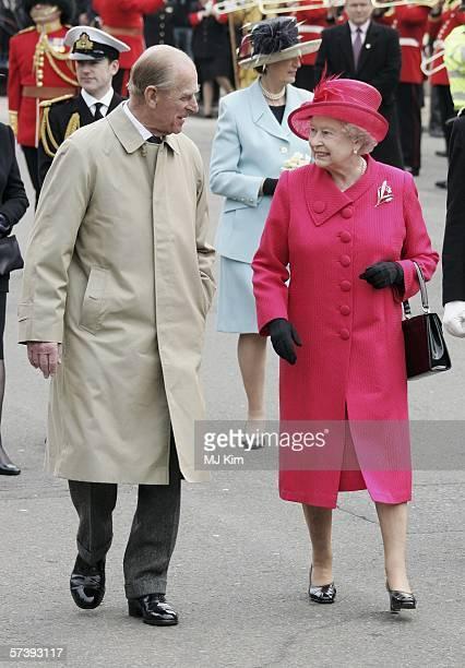 Queen Elizabeth II and Prince Philip, Duke of Edinburgh smile at each other on April 21, 2006 in Windsor, England. HRH Queen Elizabeth II is taking...