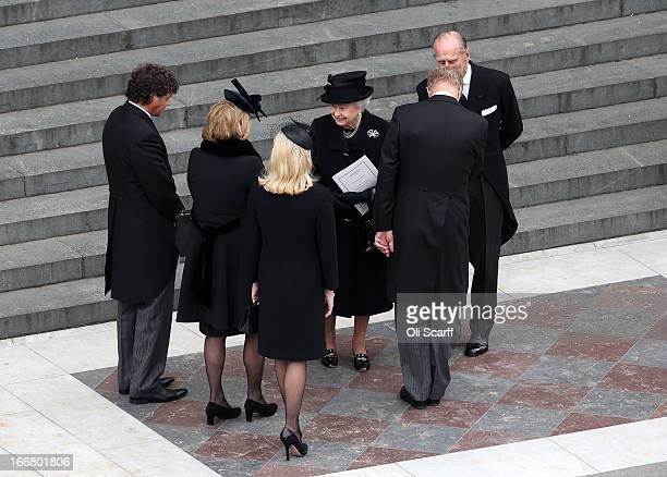 Queen Elizabeth II and Prince Philip Duke of Edinburgh speaks with Marco Grass Carol Thatcher Sarah Thatcher Mark Thatcher Michael Thatcher and...
