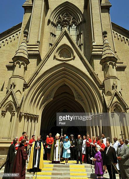 Queen Elizabeth II and Prince Philip Duke of Edinburgh talk to wellwishers after attending the Sunday service at the St James Cathedral Church on...