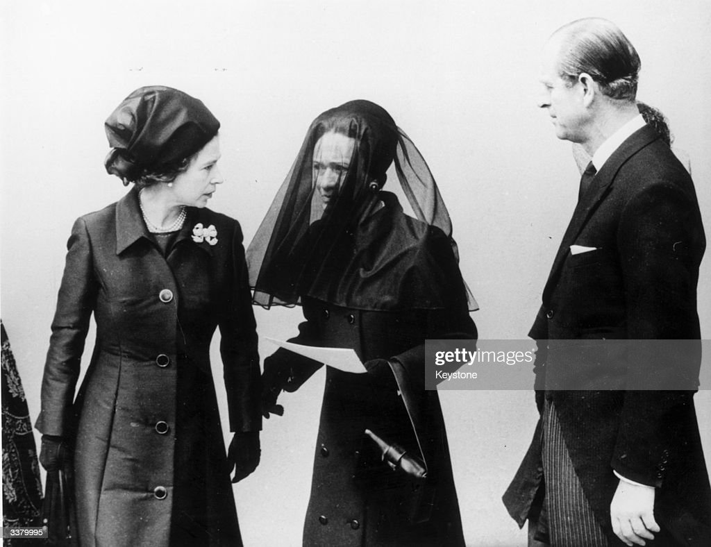 Queen Elizabeth II and Prince Philip Duke Of Edinburgh talking to the Duchess Of Windsor after the Duke of Windsor's funeral.
