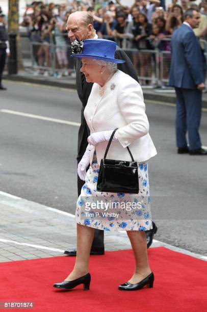 Queen Elizabeth II and Prince Philip Duke of Edinburgh visit Canada House on July 19 2017 in London England The visit is to celebrate Canada's 150th...