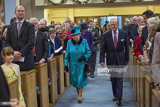 Queen Elizabeth II and Prince Philip, Duke of Edinburgh visit St Columba's Church, Knightsbridge to attend a Service of Thanks giving and Reception...