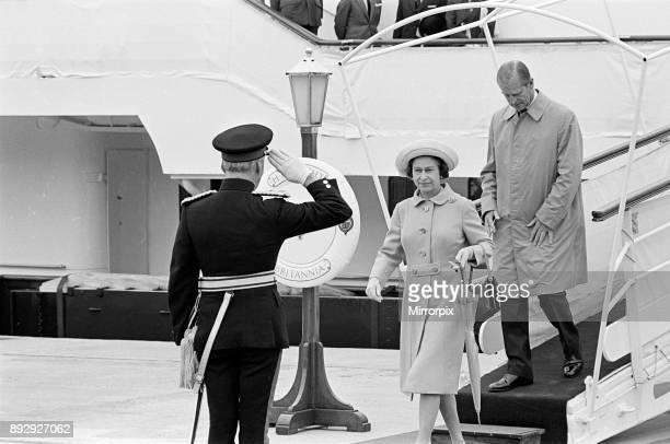 Queen Elizabeth II and Prince Philip Duke of Edinburgh visit Tees Dock 14th July 1977
