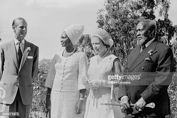 Queen Elizabeth II and Prince Philip Duke of Edinburgh visit the President of Kenya Jomo Kenyatta and his wife Ngina Kenyatta Kenya 1972