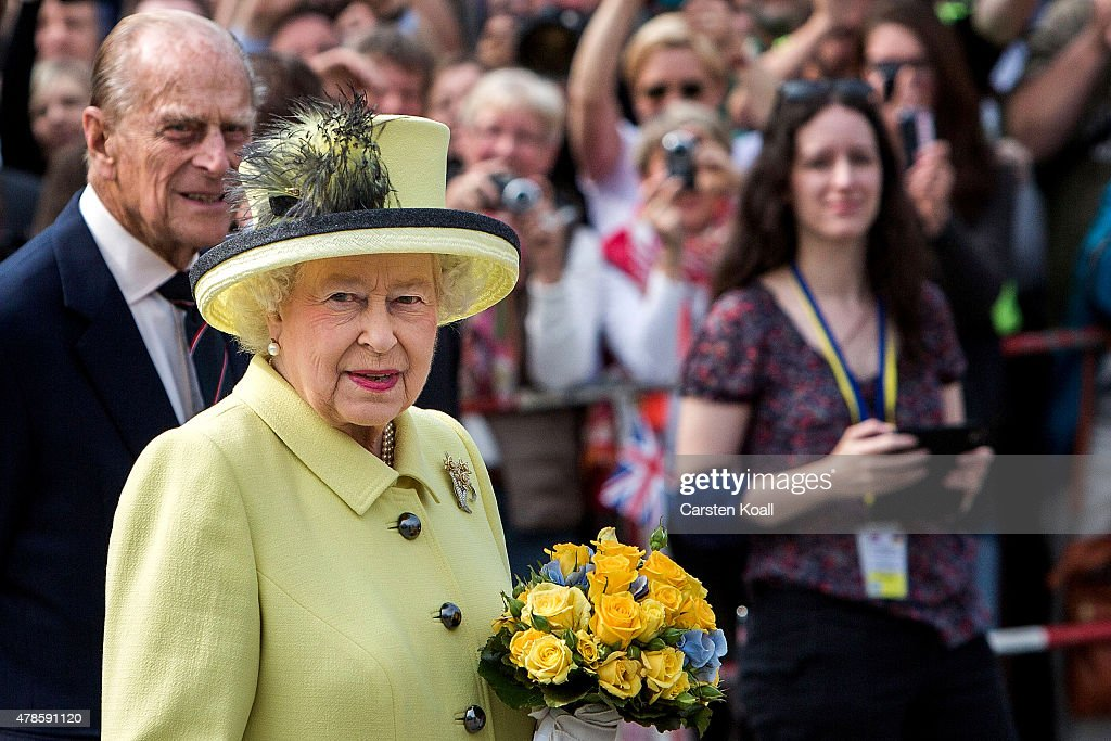 Queen Elizabeth II and Prince Philip, Duke of Edinburgh visit the Brandenburg Gate on the final day of a four day state visit to Germany on June 26, 2015 in Berlin, Germany.