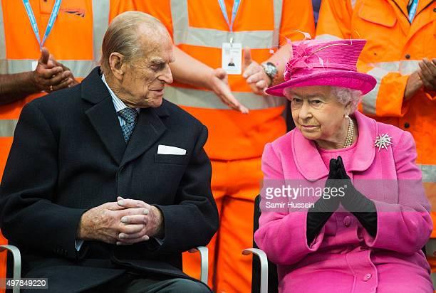 Queen Elizabeth II and Prince Philip Duke of Edinburgh visit the newly redeveloped Birmingham New Street Station on November 19 2015 in Birmingham...