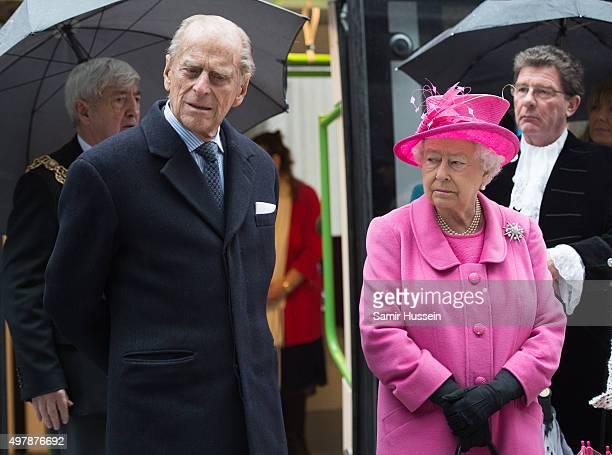 Queen Elizabeth II and Prince Philip Duke of Edinburgh visit the Metroline Tramline Extension on November 19 2015 in Birmingham England