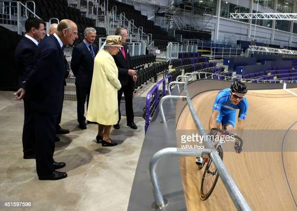 Queen Elizabeth II and Prince Philip Duke of Edinburgh visit the Sir Chris Hoy Velodrome in Glasgow as they view venues for the upcoming Commonwealth...