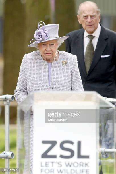 Queen Elizabeth II and Prince Philip Duke of Edinburgh visit the ZSL Whipsnade Zoo at the Elephant Centre on April 11 2017 in Dunstable United...