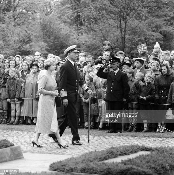 Queen Elizabeth II and Prince Philip, Duke of Edinburgh visit to Denmark. Queen Elizabeth II and King Frederik IX of Denmark pictured during a visit...