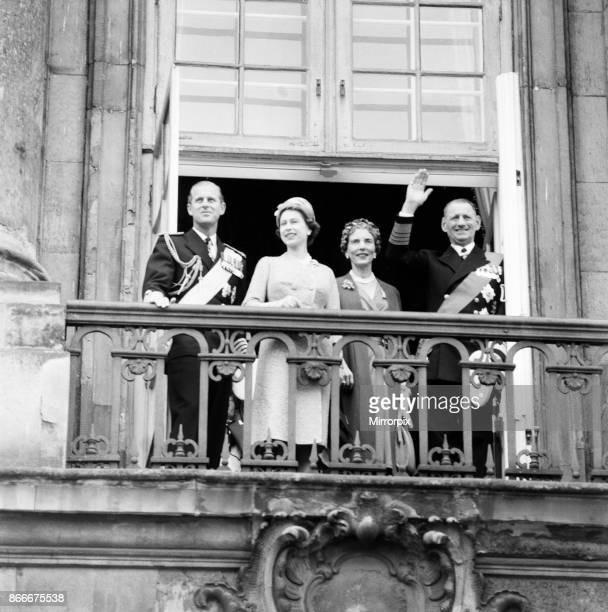Queen Elizabeth II and Prince Philip, Duke of Edinburgh visit to Denmark. On the balcony at Amalienborg Palace, left to right, Prince Philip, Queen...