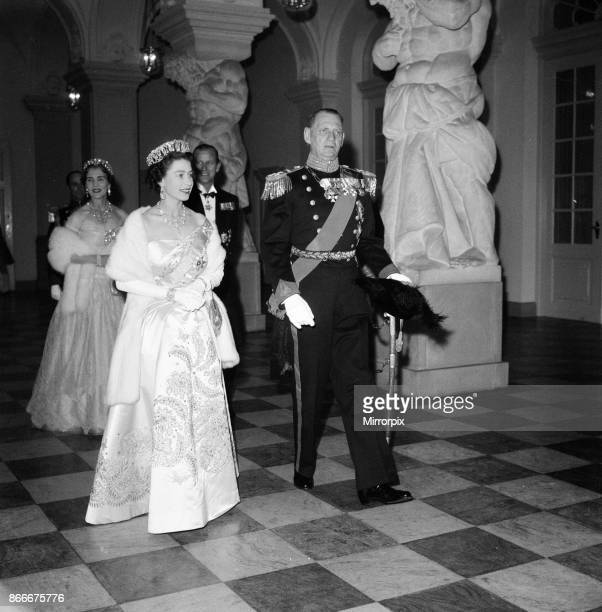 Queen Elizabeth II and Prince Philip Duke of Edinburgh visit to Denmark Pictured Queen Elizabeth and King Frederik IX of Denmark at Christiansborg...