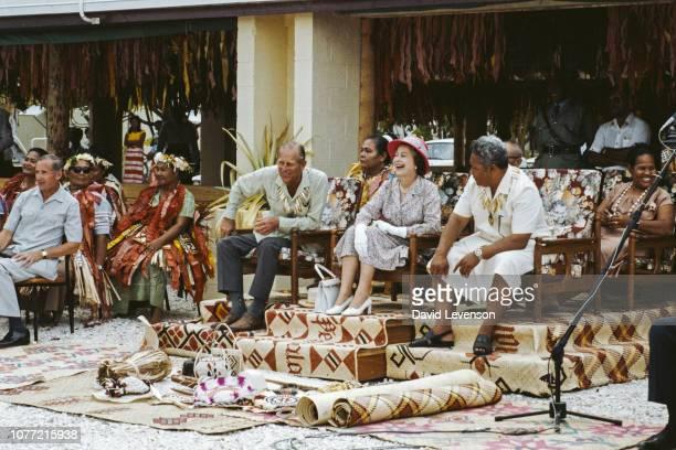 Queen Elizabeth II and Prince Philip Duke of Edinburgh visit Tuvalu 26th October 1982