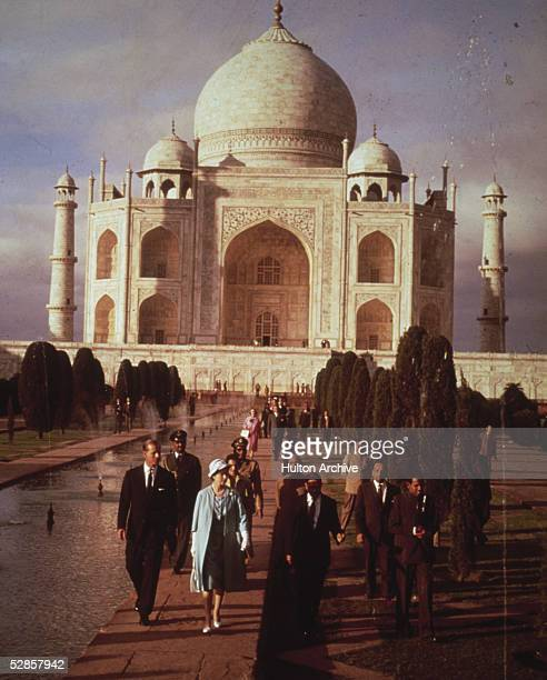 Queen Elizabeth II and Prince Philip Duke of Edinburgh visiting the seventeenth century Taj Mahal during their six week royal visit to India 29th...