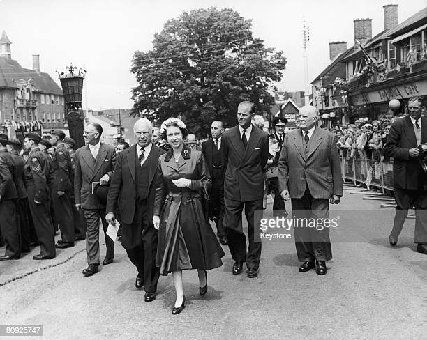 Queen Elizabeth II and Prince Philip Duke of Edinburgh visiting the Sussex town of Crawley after opening the new Gatwick Airport 9th June 1958 They...