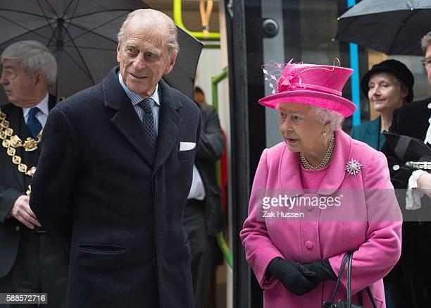 Queen Elizabeth II and Prince Philip Duke of Edinburgh visits the Metroline Tramline Extension in Birmingham