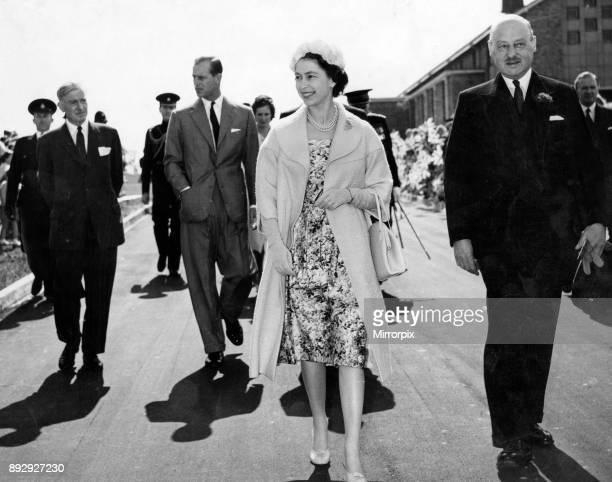 Queen Elizabeth II and Prince Philip Duke of Edinburgh walk to Durham County Council Health Centre after visiting the Parish Church 27th May 1960
