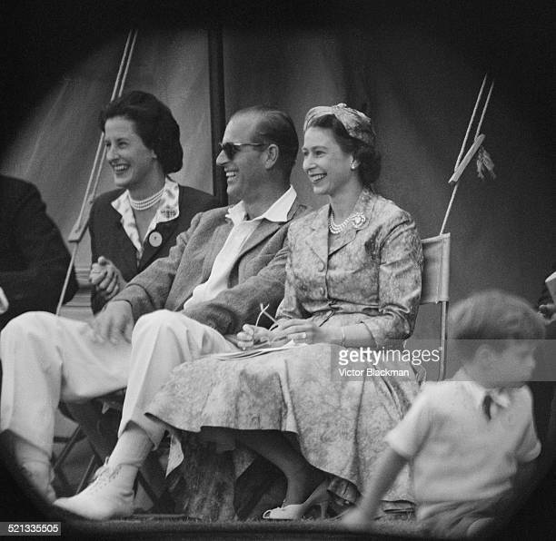 Queen Elizabeth II and Prince Philip Duke of Edinburgh watch a cricket match at Highclere Castle Highclere Hampshire 3rd August 1958