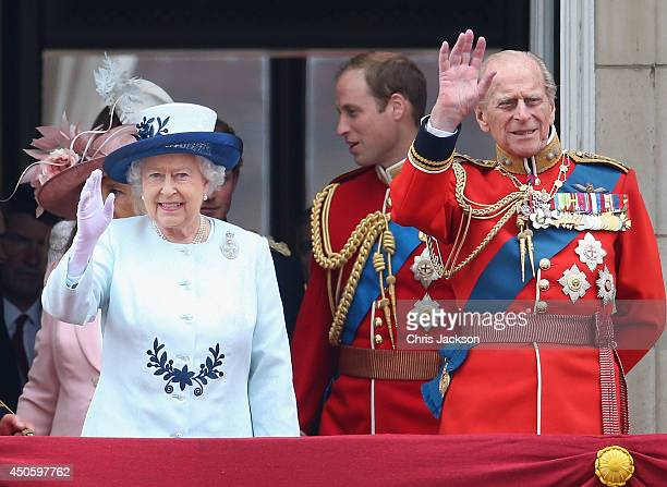 Queen Elizabeth II and Prince Philip Duke of Edinburgh wave from the balcony during Trooping the Colour Queen Elizabeth II's Birthday Parade at The...