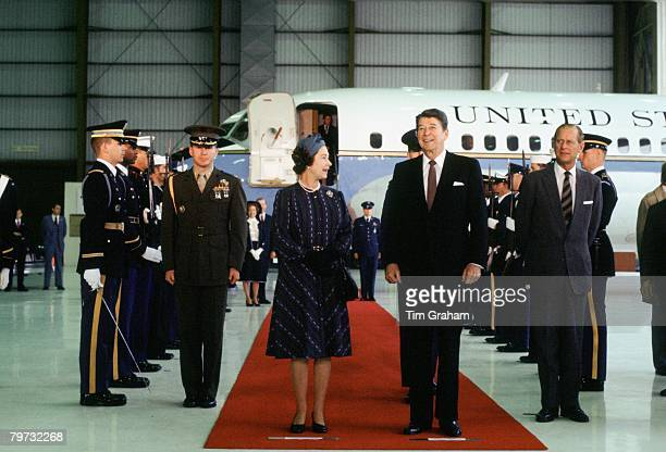 Queen Elizabeth II and Prince Philip Duke of Edinburgh with President Ronald Reagan at a welcoming ceremony in Santa Barbara USA