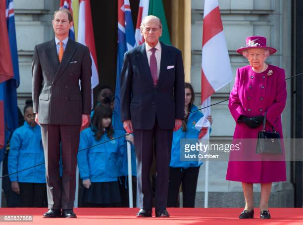 Queen Elizabeth II and Prince Philip Duke of Edinburgh with Prince Edward Earl of Wessex during the launch of The Queen's Baton Relay for the XXI...