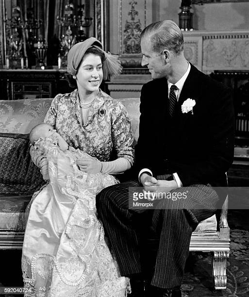 Queen Elizabeth II and Prince Philip Duke of Edinburgh with their daughter Princess Anne after her christening ceremony 21st October 1950