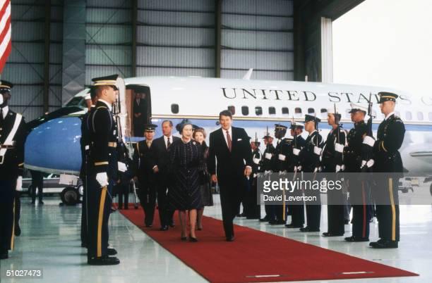 Queen Elizabeth II and Prince Philip Duke of Edinburgh with US President Ronald Reagan and his wife Nancy Reagan arriving in Santa Barbara California...