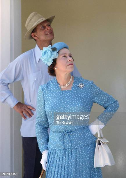 Queen Elizabeth II and Prince Philip during a visit to Tuvalu