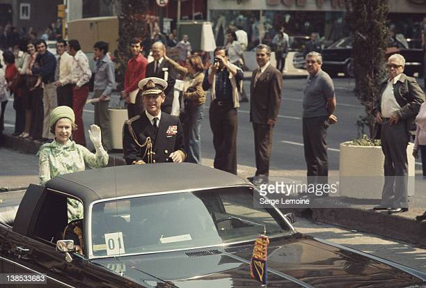 Queen Elizabeth II and Prince Philip during their state visit to Mexico 1975