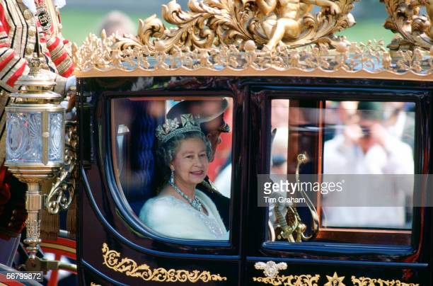 Queen Elizabeth II and Prince Philip in a state coach a Bicentennial gift from Australia