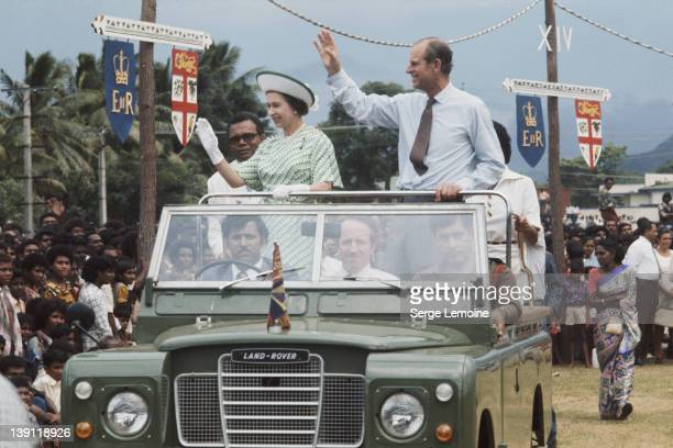 Queen Elizabeth II and Prince Philip in Fiji during their royal tour February 1977