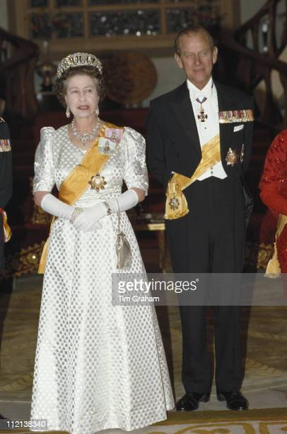 Queen Elizabeth II and Prince Philip in Kathmandu during an official tour of Nepal 19 February 1986